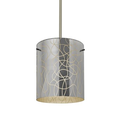 William 1-Light Cylinder Brass/Steel Drum Pendant Finish: Satin Nickel, Shade Color: Creme