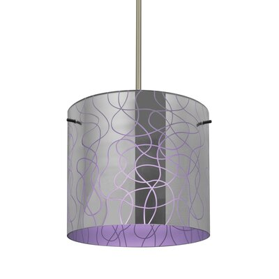 William 1-Light Cylinder Drum Pendant Finish: Satin Nickel, Shade Color: Purple