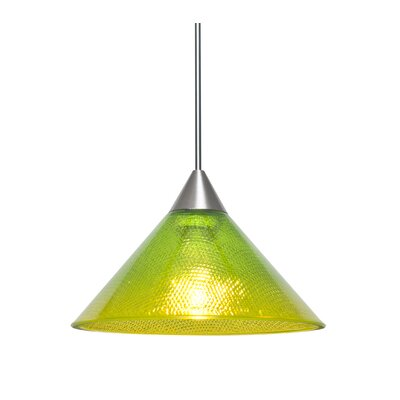 Kevin 1-Light Mini Pendant Finish: Satin Nickel, Shade Color: Emerald/Gold, Bulb Type: Incandescent