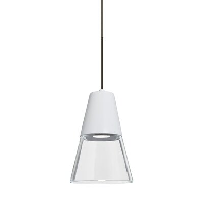 Adam 1-Light LED Mini Pendant Finish: Bronze, Shade Color: Clear/White