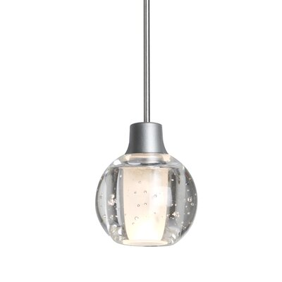 Dayna 1-Light Globe Pendant Finish: Satin Nickel, Shade Color: Clear, Bulb Type: LED