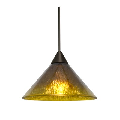 Kevin 1-Light Mini Pendant Finish: Bronze, Shade Color: Amber/Creme, Bulb Type: Incandescent