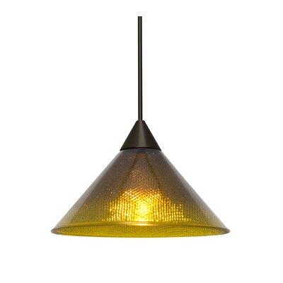 Kevin 1-Light Mini Pendant Finish: Bronze, Shade Color: Amber/Creme, Bulb Type: LED