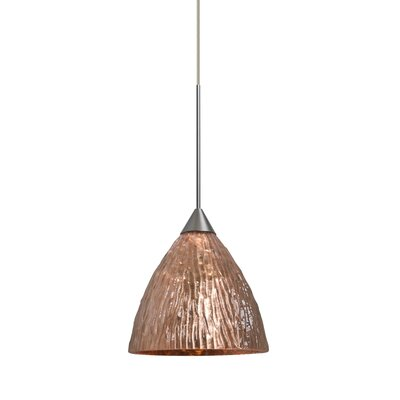 Caleigh 1-Light Mini Pendant Color: Satin Nickel, Shade Color: Stone Copper, Bulb Type: LED