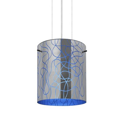 William 1-Light Brass/Steel Drum Pendant Finish: Satin Nickel, Shade Color: Blue