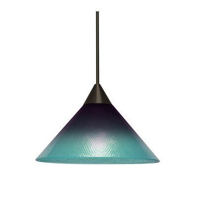 Kevin 1-Light Mini Pendant Finish: Bronze, Shade Color: Purple/Blue, Bulb Type: Incandescent