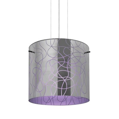 William 1-Light Drum Pendant Finish: Satin Nickel, Shade Color: Purple