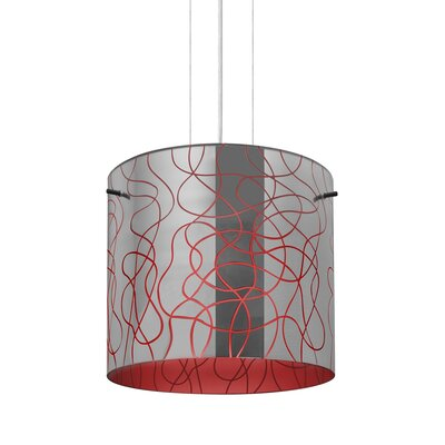 William 1-Light Drum Pendant Finish: Satin Nickel, Shade Color: Red