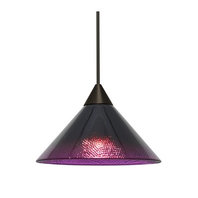 Kevin 1-Light Mini Pendant Finish: Bronze, Shade Color: Black/Plum, Bulb Type: LED