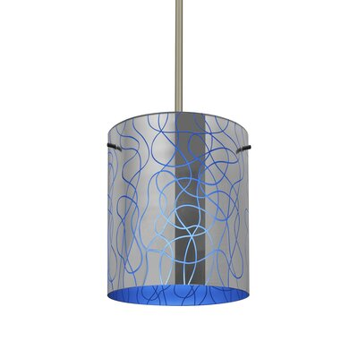 William 1-Light Cylinder Brass/Steel Drum Pendant Finish: Satin Nickel, Shade Color: Blue