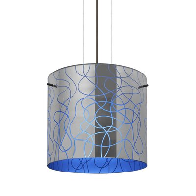 William 1-Light Brass Drum Pendant Finish: Satin Nickel, Shade Color: Blue, Size: 9.88 H x 7.88 W x 7.88 D