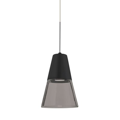 Adam 1-Light Mini Pendant Finish: Satin Nickel, Shade Color: Smoke/Black