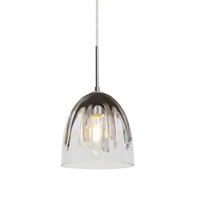 Brian 1-Light Mini Pendant Finish: Satin Nickel, Shade Color: Smoke