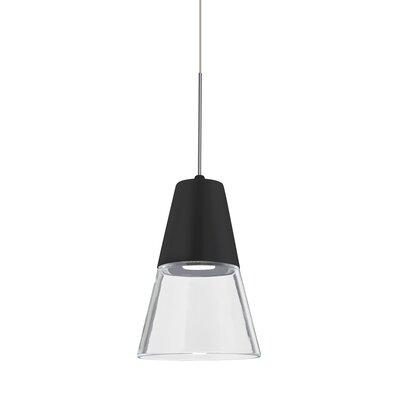 Adam 1-Light Mini Pendant Finish: Satin Nickel, Shade Color: Clear/Black