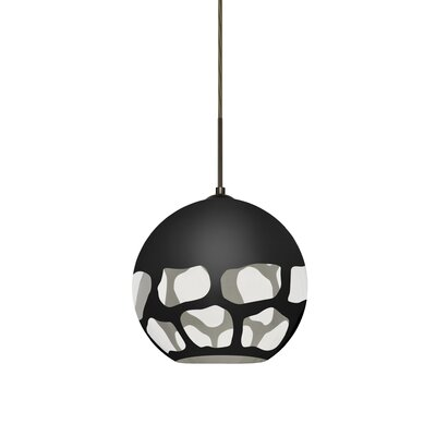 Jason 1-Light Globe Pendant Finish: Bronze, Shade Color: Black