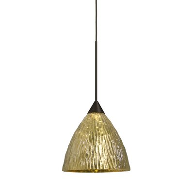 Caleigh 1-Light Mini Pendant Finish: Bronze, Shade Color: Stone Gold, Bulb Type: Incandescent