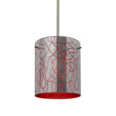 William 1-Light Cylinder Brass/Steel Drum Pendant Finish: Satin Nickel, Shade Color: Red