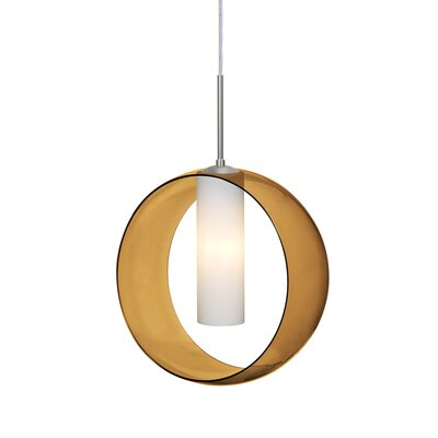 Anthony 1-Light LED Geometric Pendant Shade Color: Amber, Finish: Satin Nickel