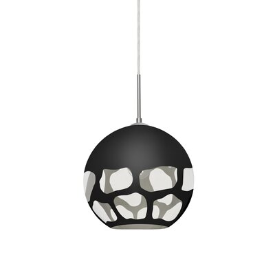 Jason 1-Light Globe Pendant Finish: Satin Nickel, Shade Color: Black