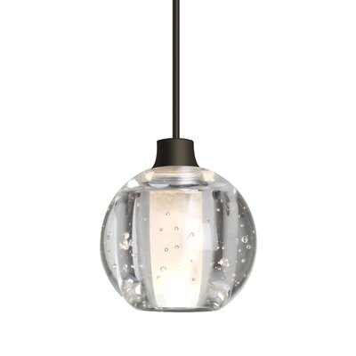 Dayna 1-Light Brass/Aluminum Globe Pendant Finish: Satin Nickel, Shade Color: Clear, Bulb Type: LED