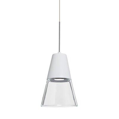 Adam 1-Light Mini Pendant Finish: Satin Nickel, Shade Color: Clear/White
