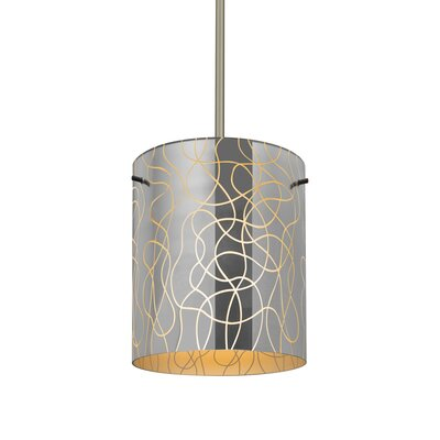 William 1-Light Cylinder Brass/Steel Drum Pendant Finish: Satin Nickel, Shade Color: Orange