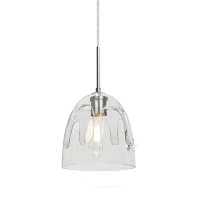 Brian 1-Light Mini Pendant Finish: Satin Nickel, Shade Color: Clear