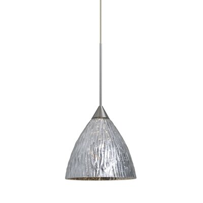 Caleigh 1-Light Mini Pendant Color: Satin Nickel, Shade Color: Stone Silver, Bulb Type: Incandescent