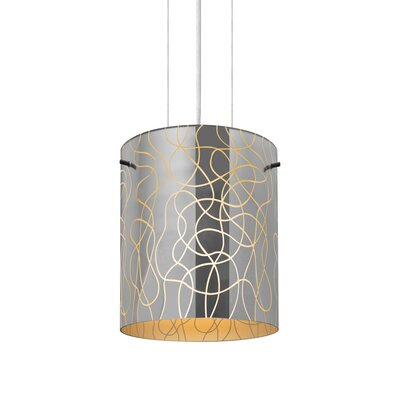 William 1-Light Brass/Steel Drum Pendant Finish: Satin Nickel, Shade Color: Orange