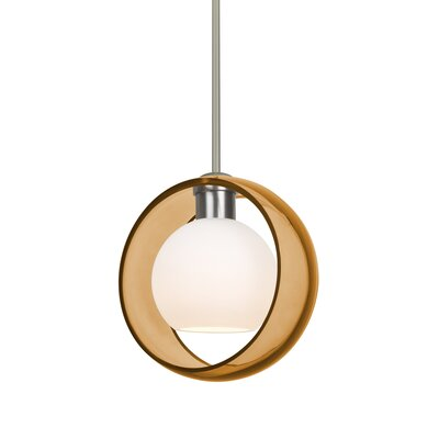 Spigner Stem 1-Light LED Mini Pendant Shade Color: Amber, Base Finish: Satin Nickel