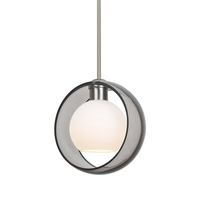 Spigner Stem 1-Light Mini Pendant Base Finish: Satin Nickel, Shade Color: Smoke