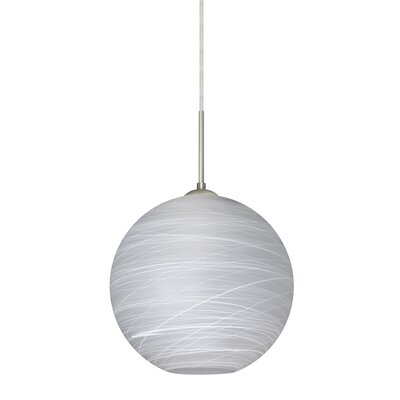 Speth 1-Light Cocoon Globe Pendant Base Finish: Satin Nickel, Size: 9.5 H x 9.88 W x 9.88 D