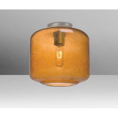 Spero Ceiling Cylinder 1-Light Semi Flush Mount Base Finish: Satin Nickel, Shade Color: Amber