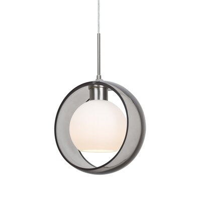 Spigner 1-Light Mini Pendant Base Finish: Satin Nickel, Shade Color: Smoke