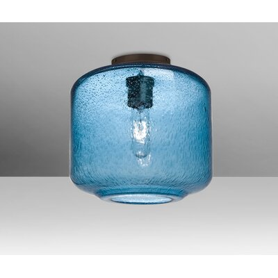 Spero Ceiling Cylinder 1-Light Semi Flush Mount Base Finish: Bronze, Shade Color: Blue