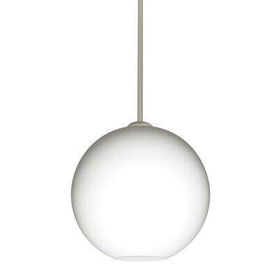 Speth Opal Matte 1-Light LED Globe Pendant  Base Finish: Satin Nickel, Size: 11.5 H x 11.75 W x 11.75 D