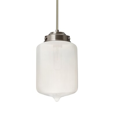 Cargan Stem 1-Light Mini Pendant Base Finish: Satin Nickel, Shade Color: Frost