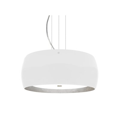 Speidel 3-Light Drum Pendant Base Finish: Satin Nickel, Shade Color: White/Silver