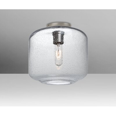 Spero Ceiling Cylinder 1-Light Semi Flush Mount Base Finish: Satin Nickel, Shade Color: Clear