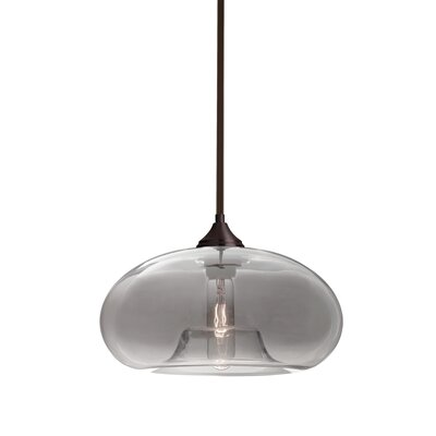 Sperry Stem 1-Light Mini Pendant Shade Color: Smoke, Base Finish: Bronze