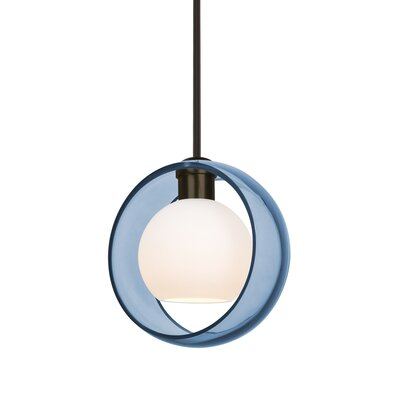 Spigner Stem 1-Light Mini Pendant Base Finish: Bronze, Shade Color: Blue