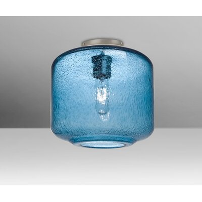 Spero Ceiling Cylinder 1-Light Semi Flush Mount Base Finish: Satin Nickel, Shade Color: Blue
