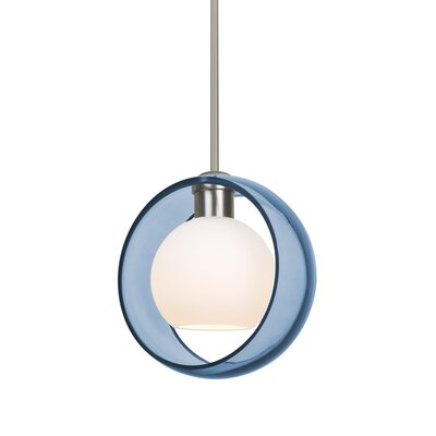 Spigner Stem 1-Light LED Mini Pendant Base Finish: Satin Nickel, Shade Color: Blue