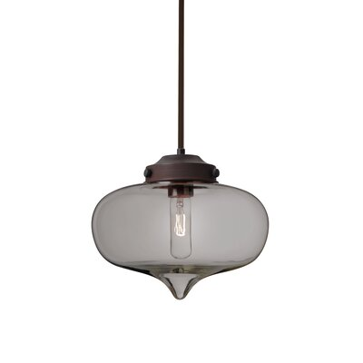 Sperling Stem 1-Light Mini Pendant Base Finish: Bronze, Shade Color: Smoke
