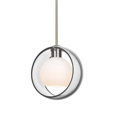 Spigner Stem 1-Light Mini Pendant Base Finish: Satin Nickel, Shade Color: Clear