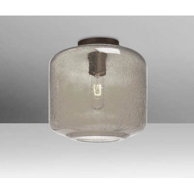 Spero Ceiling Cylinder 1-Light Semi Flush Mount Base Finish: Bronze, Shade Color: Smoke