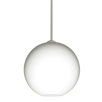 Speth Opal Matte 1-Light LED Globe Pendant  Base Finish: Satin Nickel, Size: 13.25