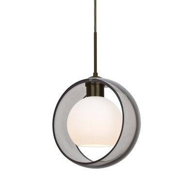 Spigner 1-Light Mini Pendant Base Finish: Bronze, Shade Color: Smoke
