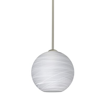 Speth Stem 1-Light Globe Pendant Base Finish: Satin Nickel, Size: 7.5 H x 7.88 W x 7.88 D