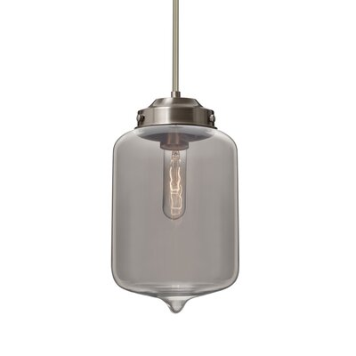 Cargan Stem 1-Light Mini Pendant Base Finish: Satin Nickel, Shade Color: Smoke